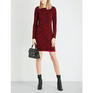 Michael Kors Jersey Shift Dress Lace Print Red Med
